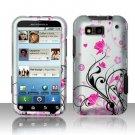 Hard Rubber Feel Design Case for Motorola Defy MB525 (T-Mobile) - Pink Garden
