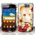 Hard Rubber Feel Design Case for Samsung Exhibit II 4G - Red Flowers