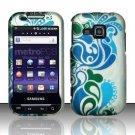 Hard Rubber Feel Design Case for Samsung Galaxy Indulge R910 - Blue Swirl