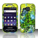 Hard Rubber Feel Design Case for Samsung Galaxy Indulge R910 - Green Flowers