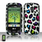 Hard Rubber Feel Design Case for LG Beacon/Attune (MetroPCS/U.S. Cellular) - Colorful Leopard