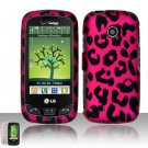Hard Rubber Feel Design Case for LG Beacon/Attune (MetroPCS/U.S. Cellular) - Pink Leopard