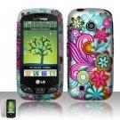 Hard Rubber Feel Design Case for LG Beacon/Attune (MetroPCS/U.S. Cellular) - Purple Blue Flowers