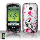 Hard Rubber Feel Design Case for LG Beacon/Attune (MetroPCS/U.S. Cellular) - Pink Garden