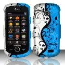 Hard Rubber Feel Design Case for Samsung Solstice II A817 - Blue Vines