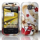 Hard Rubber Feel Design Case for Samsung Transform M920 - Red Flowers