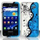 Hard Rubber Feel Design Case for Samsung Captivate Glide 4G - Blue Vines