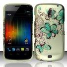 Hard Rubber Feel Design Case for Samsung Galaxy Nexus i515 - Azure Flowers