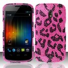 Hard Rhinestone Design Case for Samsung Galaxy Nexus i515 - Pink Leopard