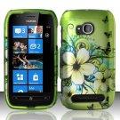 Hard Rubber Feel Design Case for Nokia Lumia 710 (T-Mobile) - Hawaiian Flowers