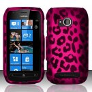 Hard Rubber Feel Design Case for Nokia Lumia 710 (T-Mobile) - Pink Leopard