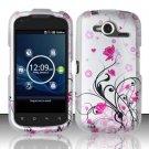 Hard Rubber Feel Design Case for Pantech Burst P9070 (AT&T) (AT&T) - Pink Garden