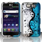 Hard Rubber Feel Design Case for LG Viper 4G LTE/Connect 4G (Sprint/MetroPCS) - Blue Vines