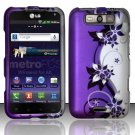 Hard Rubber Feel Design Case for LG Viper 4G LTE/Connect 4G (Sprint/MetroPCS) - Purple Vines