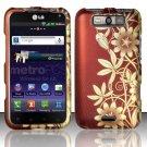 Hard Rubber Feel Design Case for LG Viper 4G LTE/Connect 4G (Sprint/MetroPCS) - Bronze Garden