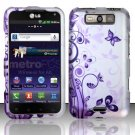 Hard Rubber Feel Design Case for LG Viper 4G LTE/Connect 4G (Sprint/MetroPCS) - Purple Garden