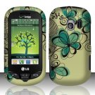 Hard Rubber Feel Design Case for LG Extrovert VN271 (Verizon) - Azure Flowers