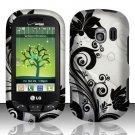 Hard Rubber Feel Design Case for LG Extrovert VN271 (Verizon) - Black Vines