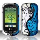 Hard Rubber Feel Design Case for LG Extrovert VN271 (Verizon) - Blue Vines