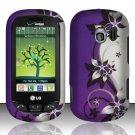 Hard Rubber Feel Design Case for LG Extrovert VN271 (Verizon) - Purple Vines