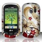 Hard Rubber Feel Design Case for LG Extrovert VN271 (Verizon) - Red Flowers