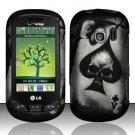 Hard Rubber Feel Design Case for LG Extrovert VN271 (Verizon) - Spade Skull