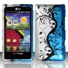 Hard Rubber Feel Design Case for LG Lucid VS840 (Verizon) - Blue Vines
