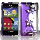 Hard Rubber Feel Design Case for LG Lucid VS840 (Verizon) - Purple Vines