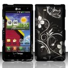 Hard Rubber Feel Design Case for LG Lucid VS840 (Verizon) - Midnight Garden
