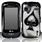 Hard Rubber Feel Design Case for LG Rumor Reflex (Sprint/Boost) - Spade Skull