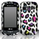 Hard Rubber Feel Design Case for LG Rumor Reflex (Sprint/Boost) - Colorful Leopard