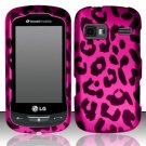 Hard Rubber Feel Design Case for LG Rumor Reflex (Sprint/Boost) - Pink Leopard
