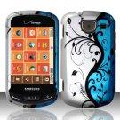 Hard Rubber Feel Design Case for Samsung Brightside U380 - Blue Vines