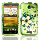 Hard Rubber Feel Design Case for HTC One X (AT&T) - Hawaiian Flowers