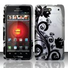 Hard Rubber Feel Design Case for Motorola Droid 4 XT894 (Verizon) - Black Vines