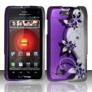 Hard Rubber Feel Design Case for Motorola Droid 4 XT894 (Verizon) - Purple Vines