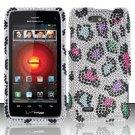 Hard Rhinestone Design Case for Motorola Droid 4 XT894 (Verizon) - Colorful Leopard