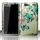 Hard Rubber Feel Design Case for Motorola Droid RAZR MAXX XT913/XT916 (Verizon) - Azure Flowers