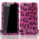 Hard Rhinestone Design Case for Motorola Droid RAZR MAXX XT913/XT916 (Verizon) - Pink Leopard