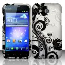 Hard Rubber Feel Design Case for Huawei Mercury M886 (Cricket) - Black Vines