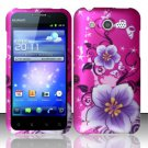 Hard Rubber Feel Design Case for Huawei Mercury M886 (Cricket) - Hibiscus Flowers