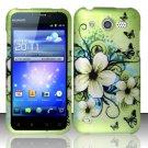 Hard Rubber Feel Design Case for Huawei Mercury M886 (Cricket) - Hawaiian Flowers