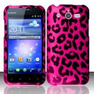 Hard Rubber Feel Design Case for Huawei Mercury M886 (Cricket) - Pink Leopard