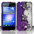 Hard Rubber Feel Design Case for Huawei Mercury M886 (Cricket) - Purple Vines