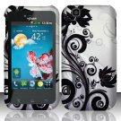 Hard Rubber Feel Design Case for LG myTouch LU9400 (T-Mobile) - Black Vines