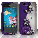 Hard Rubber Feel Design Case for LG myTouch LU9400 (T-Mobile) - Purple Vines