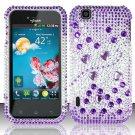 Hard Rhinestone Design Case for LG myTouch LU9400 (T-Mobile) - Purple Gems