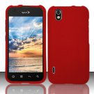 Hard Rubber Feel Plastic Case for LG Marquee LS855/Optimus Black (Sprint/Boost) - Red
