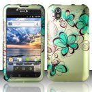 Hard Rubber Feel Design Case for LG Marquee LS855/Optimus Black (Sprint/Boost) - Azure Flowers
