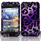 Hard Rubber Feel Design Case for LG Marquee LS855/Optimus Black (Sprint/Boost) - Purple Cheetah